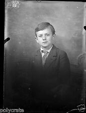 Portrait enfant jeune garçon -  négatif photo ancien verre 1930 40