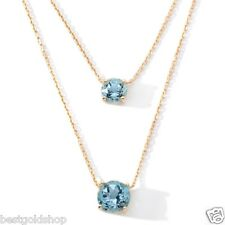 Technibond Real Blue Topaz Pendant with Chain 14K Yellow Gold Clad Silver 18""