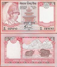 NEPAL 5 RUPEES RED CROWN NOTE UNC