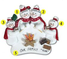 Personalized Snowman Camping Family of 4 Christmas Ornament