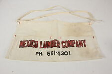 Mexico Lumber Company Vintage Carpenter Nail Apron Canvas Advertiser Waist Ties