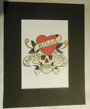 "Matted Print Ed Hardy Tatoo Art ""Love Kills Slowly""  8 x 10"" Sealed"