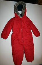 New NEXT UK Winter Snowsuit Red with Hood Trimmed Faux Fur 12m 18m Year 86 CM