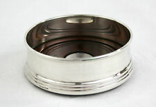 Vintage Sterling Silver Wine Bottle Coaster Mahogany Base Birmingham 1995