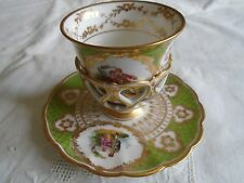 RICHARD KLEMM DRESDEN BEAUTIFUL HAND PAINTED TREMBLEUSE CUP AND SAUCER. #1--1888