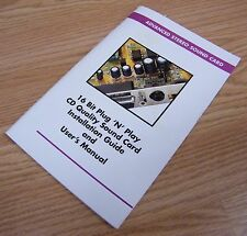 16 Bit Plug 'N' Play CD Quality Sound Card Installation Guide / User's Manual