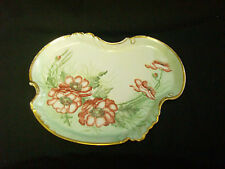 VINTAGE LIMOGES FRANCE HAND PAINTED POPPY DRESSER TRAY WILLIAM GUERIN & CO