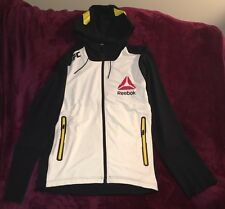 Men's Sz M Medium Reebok Combat UFC Walkout Full Zip Hoodie - Black/Chalk/Yellow