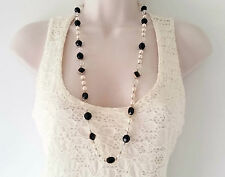 "Gorgeous 32"" long black bead - gold tone & faux pearl bead necklace,  * NEW *"