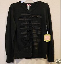 Black sweater cardigan unique  embellished beads torn fabric strips XXS