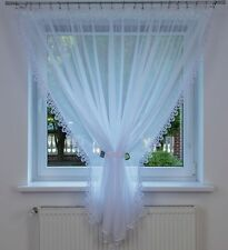 Ready Made Net Curtains Voile Panel Guipure Lace White Long 180/300 cm Firanka