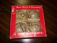 VINTAGE HAND BLOWN AND DECORATED CLEAR GLASS CHRISTMAS TREE ORNAMENTS