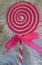 "LOLLIPOP PINK CANDY SUGAR COATED VALENTINES DAY TREE DECOR ORNAMENT GIFT 7"" LONG"