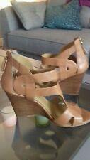 Nine West Tan Leather Peep Toe Ankle Shoe Size 5 USA 7