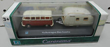 CARARAMA BUS SAMBA TRAILER RED TAN CREAM HONGWELL 1/72 VW VOLKSWAGEN