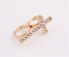New Charming Gold Plated Metal Silver Rhinestone Cross Double Finger Ring TOP