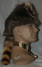 Mountain man RACOON FUR HAT Black Powder RENDEZVOUS Powwow SKI hunt FCF