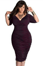 Plus Size Clothing 3X Elegant Wine Ruched Midi Bodycon Dress SEXY Women Sz 14 16