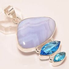 """SUPERB BLUE LACE AGATE & BLUE TOPAZ NEW DEAL  .925 SILVER JEWELRY PENDANT 2"""""""