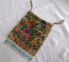 ANTIQUE VICTORIAN FIGURAL MICRO BEADWORK PURSE - FLOWER BASKET c1900