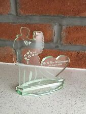Glass Look Personalised Wedding Mr And Mrs Heart Cake Topper  And Stand Keepsake