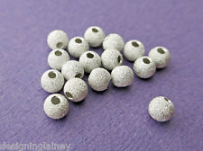 .925 STERLING SILVER 5mm ROUND LASERCUT STARDUST BEADS - (10) - MADE IN USA