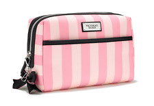 NWT VICTORIA'S SECRET STRIPED PINK BEAUTY ESSENTIALS LARGE COSMETIC BAG VS LOGO