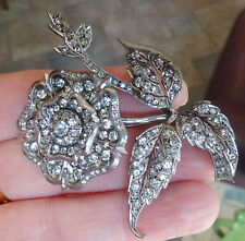 "FRENCH ANTIQUE STERLING PASTE LARGE Tudor Rose Flower PIN ""BEST ON EBAY"" OLD"