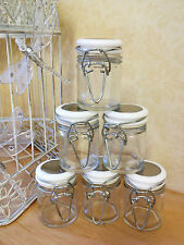 Set Of 6 Glass Clip Top Jar Small Mini Spice Herb Jam Pot Wedding Favour Gifts