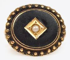 19TH CENTURY GOLD BLACK ENAMEL MOURNING RING STUNNING!! SIZE K/L BOXED