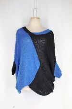 NEW DIRECTIONS Tunic Sweater XL Blue Black Colorblock Dolman Nubby Knit Pullover