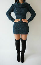 Boutique Teal Blue Chunky Knit Cable Polaneck Rare Jumper Dress Top 8 10 12 14