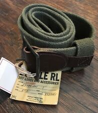 "NEW With Tags Ralph Lauren RRL Olive Canvas & Leather ""Trench"" Belt Waist 36"