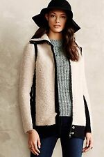 ANTHROPOLOGIE COLORBLOCKED BOUCLE COAT SPARROW SWEATER JACKET $158 XS FULL ZIP