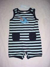 NWT Gymboree Boys SWIM SCHOOL Blue Striped Fish Terry Beach Romper 3-6 M