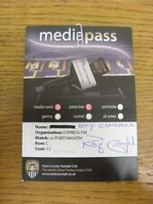 22/09/2012 Ticket: Notts County v Portsmouth [Media Pass] . Thanks for viewing t