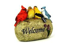 CUTE 4 BIRDS ON A WELCOME STONE GARDEN ORNAMENT OUTDOOR DECORATION NEW