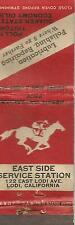 Lodi CA East Side Service Station Lucky Number Drawing Matchbook Cover c1940