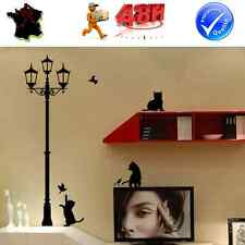 STICKER AUTOCOLLANT AUTO ADHESIF MURAL NOIR DECORATION CHAT LAMPADAIRE REVERBERE