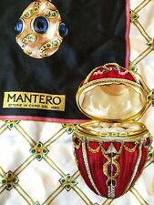 Black Mantero silk scarf Fabergé  jewelled egg motif
