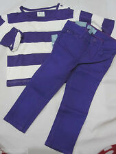 BABY GAP Girls Skinny Fit Purple Jeans & Striped Top Outfit Set Size 2 yrs