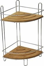 Evideco Free Standing Metal Shower Corner Caddy Bamboo Shelves/Chrome