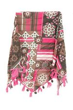 RETRO LADIES TRADITIONAL INSPIRED PINK/BROWN BRONZE CHIMES DESIGN SCARF(MS42PT1)