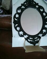 Black Baroque Rococo Ornate Vintage Antique Style Oval Wall Mirror stunning