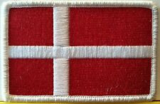 DENMARK Flag Military Patch With VELCRO® Brand Fastener White Emblem #40