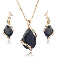 Luxus Schmuck Set Halskette Ohrringe Damen gold Strass Anhänger Kette Mode NEU