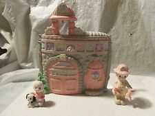 "RARE 1994 Enesco 3 Piece Precious Moments ""THE OLD FIRE STATION"" Figurine Set"