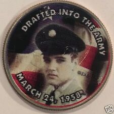 "Elvis Presley Colorized Half Dollar  Elvis ""Drafted into the army""  #2388"