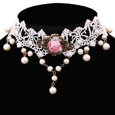 8L Bridal Gothic Victorian Romance White Lace & Pink Satin Rose Choker Necklace