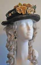 ANTIQUE DRESS HAT VICTORIAN BLACK HORSEHAIR OVER WOVEN STRAW HAT 1900 FLOWERS